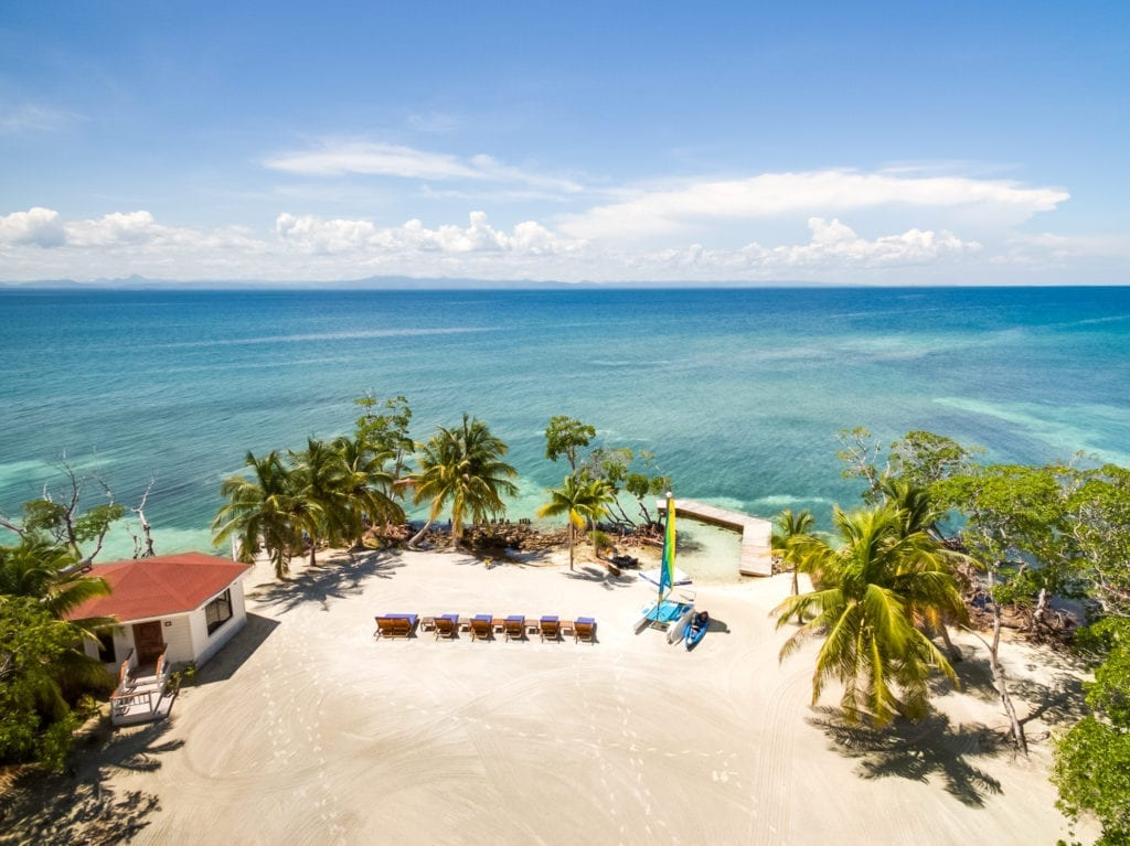 Aerial View Beach and Loungers at Royal Belize
