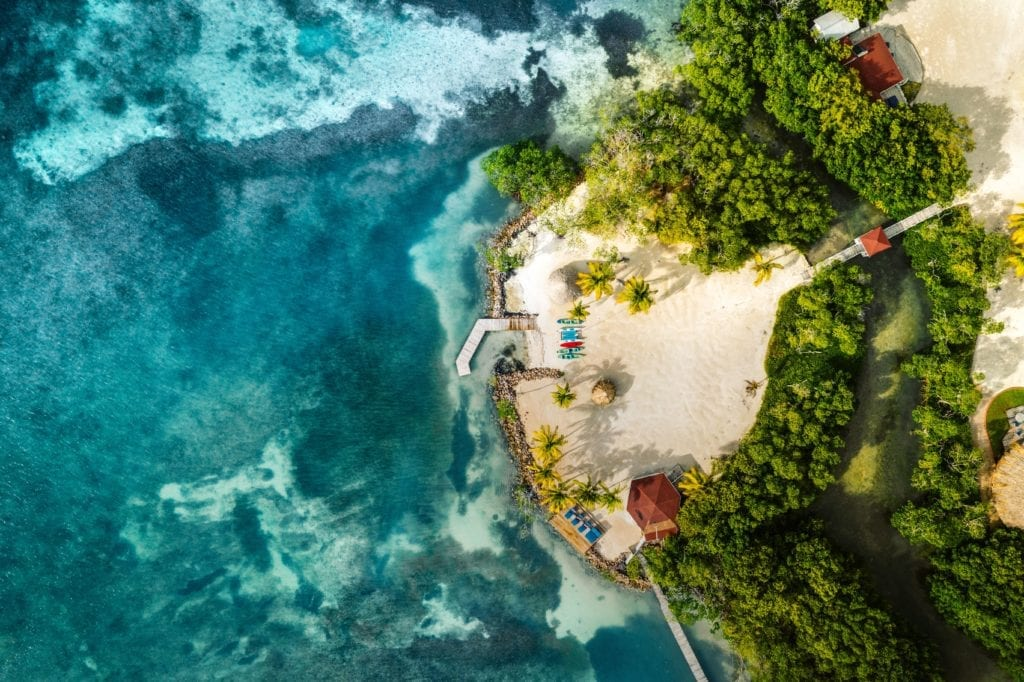 Aerial View Island Beach at Royal Belize
