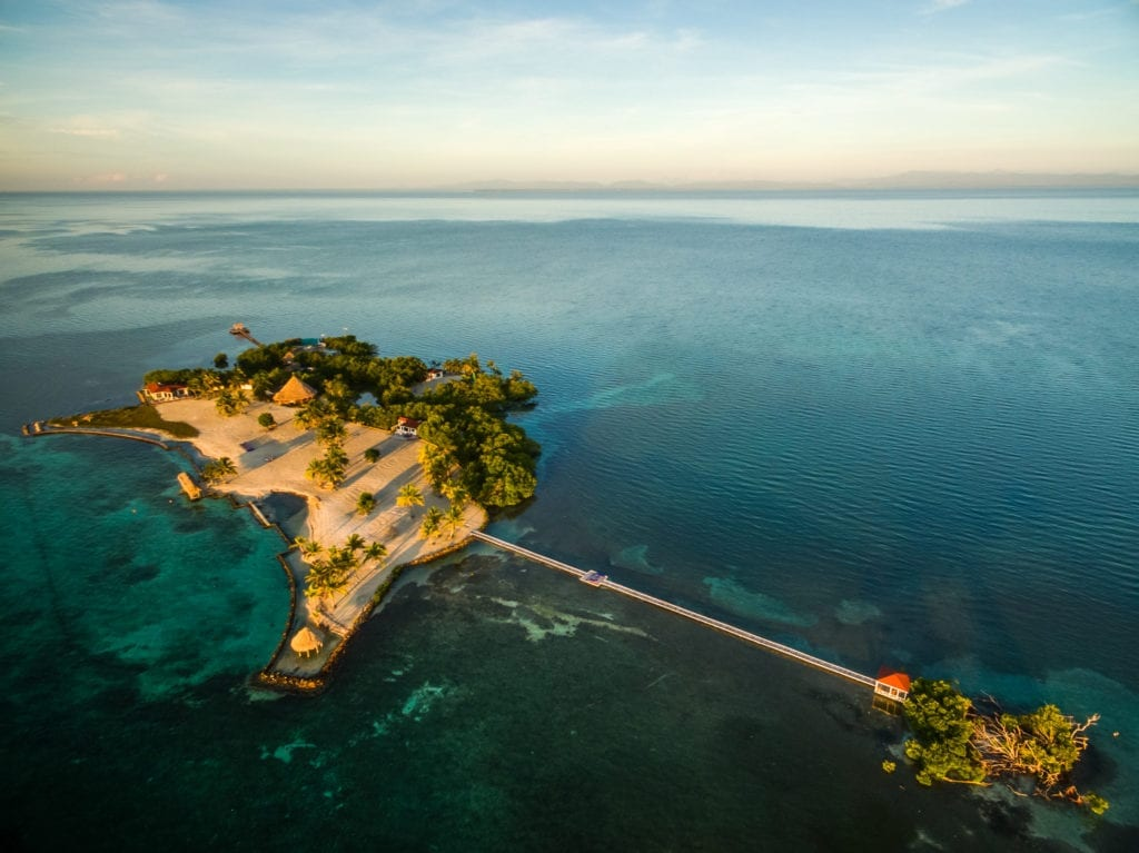 Aerial View Island Connected by Bridge at Royal Belize
