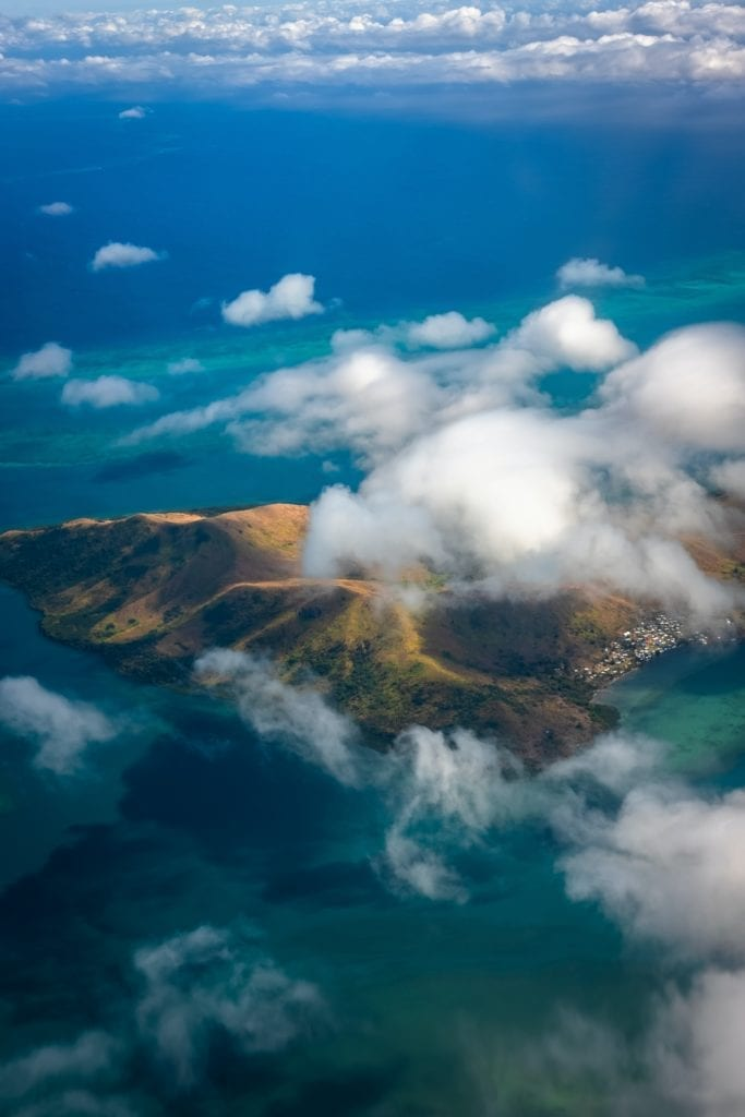 Aerial View of Fiji Islands in the Mist