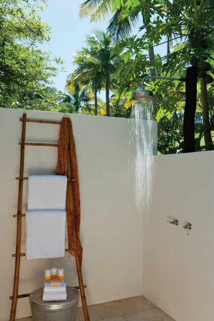 Bathroom Opens Up Completely To an Outdoor Shower Within PRivate Garden Courtyard at Dolphin Island Fiji