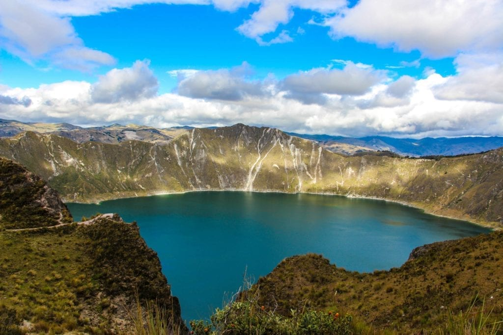 Blue Lake Surrounded by Forest in Ecuador