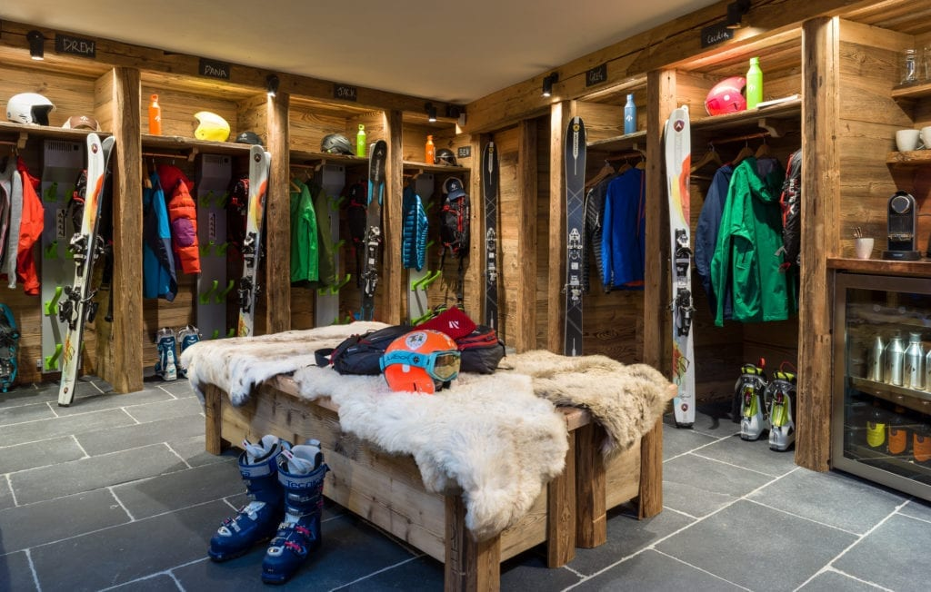 Boot Room with equipment at Chalet Hibou Alps France