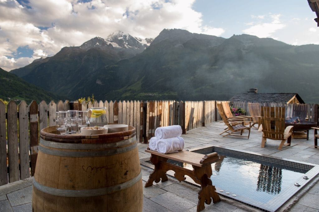 Chalet Pelerin Exterior Deck Terrace with Hot Tob and Mountain Views, the alps, France