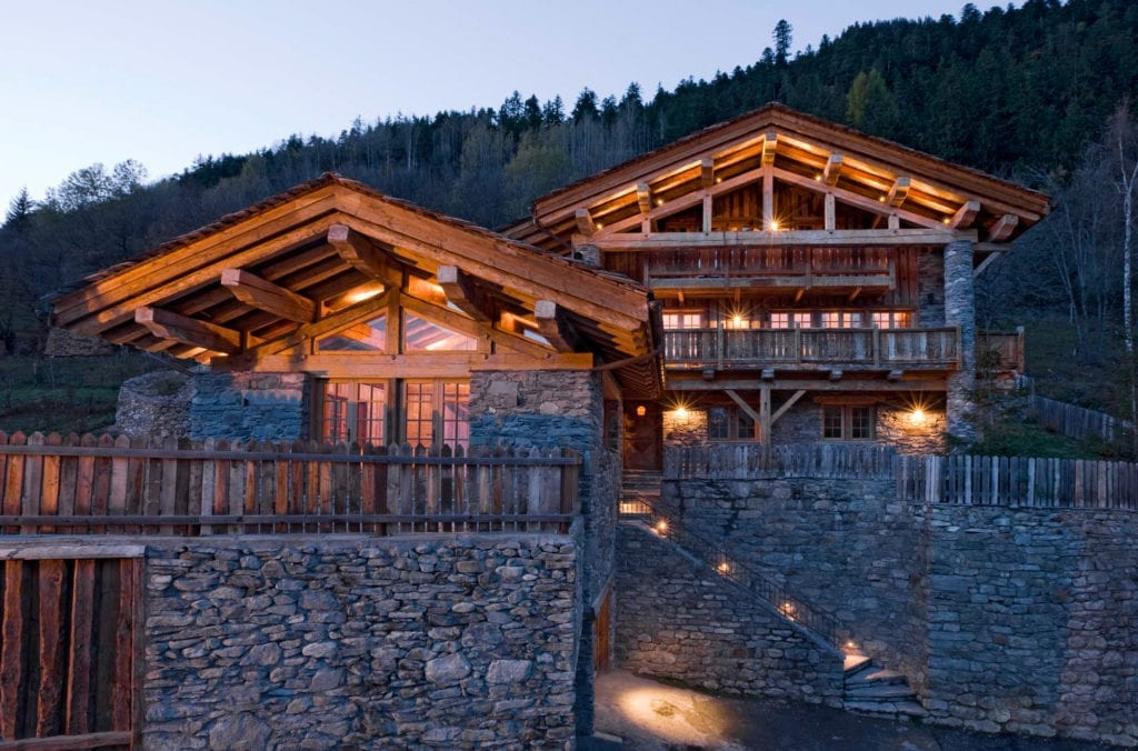 Chalet Pelerin Exterior at Night, The Alps in France