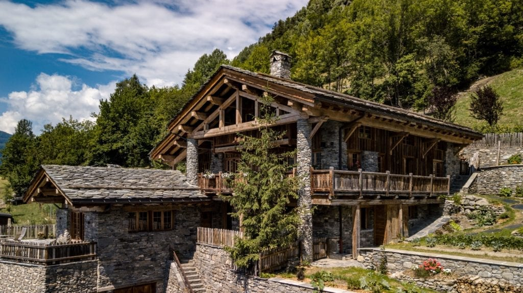 Chalet PElerin Exterior in Summer The Alps France