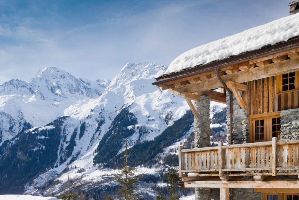 Chalet Pelerin Exterior and Alpine Mountain Views in Winter France