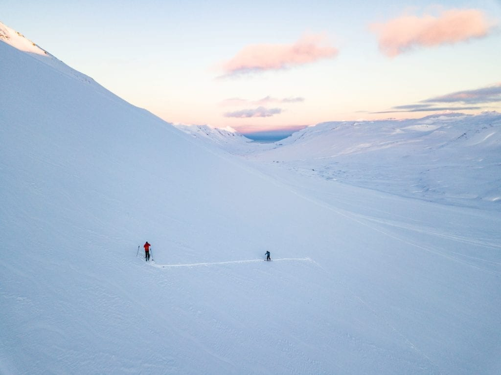 Deserted Powder on Mountains in Iceland at Sunset