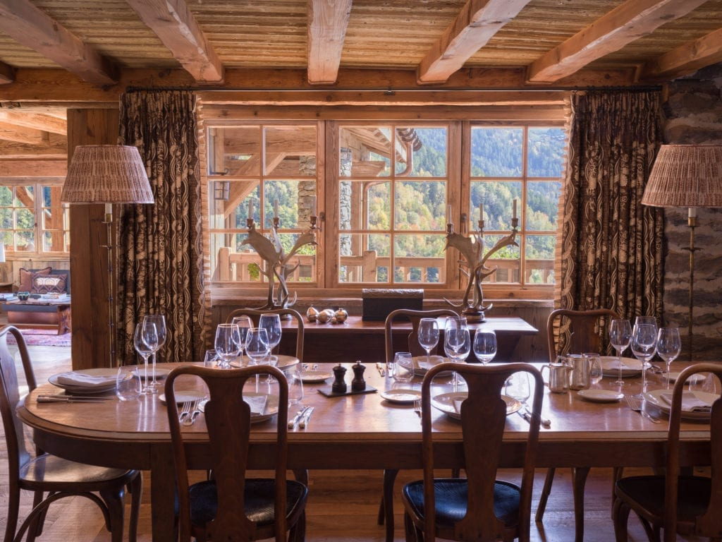 Dining Area Interior during the Daytime at Chalet Hibou, The Alps France