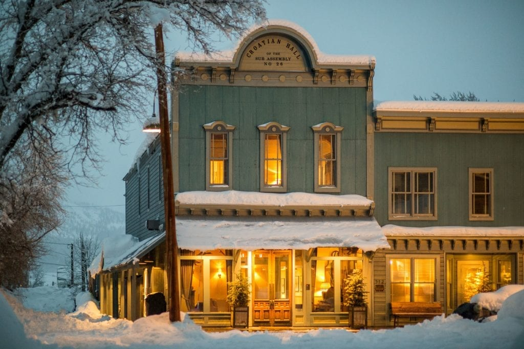 Exterior of Scarp Ridge Lodge at Dusk Colorado USA