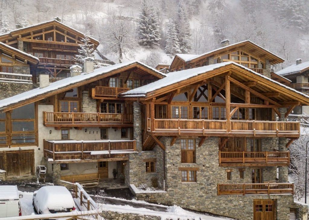 Exterior of Chalet Hibou in the Snow in Winter The Alps, France
