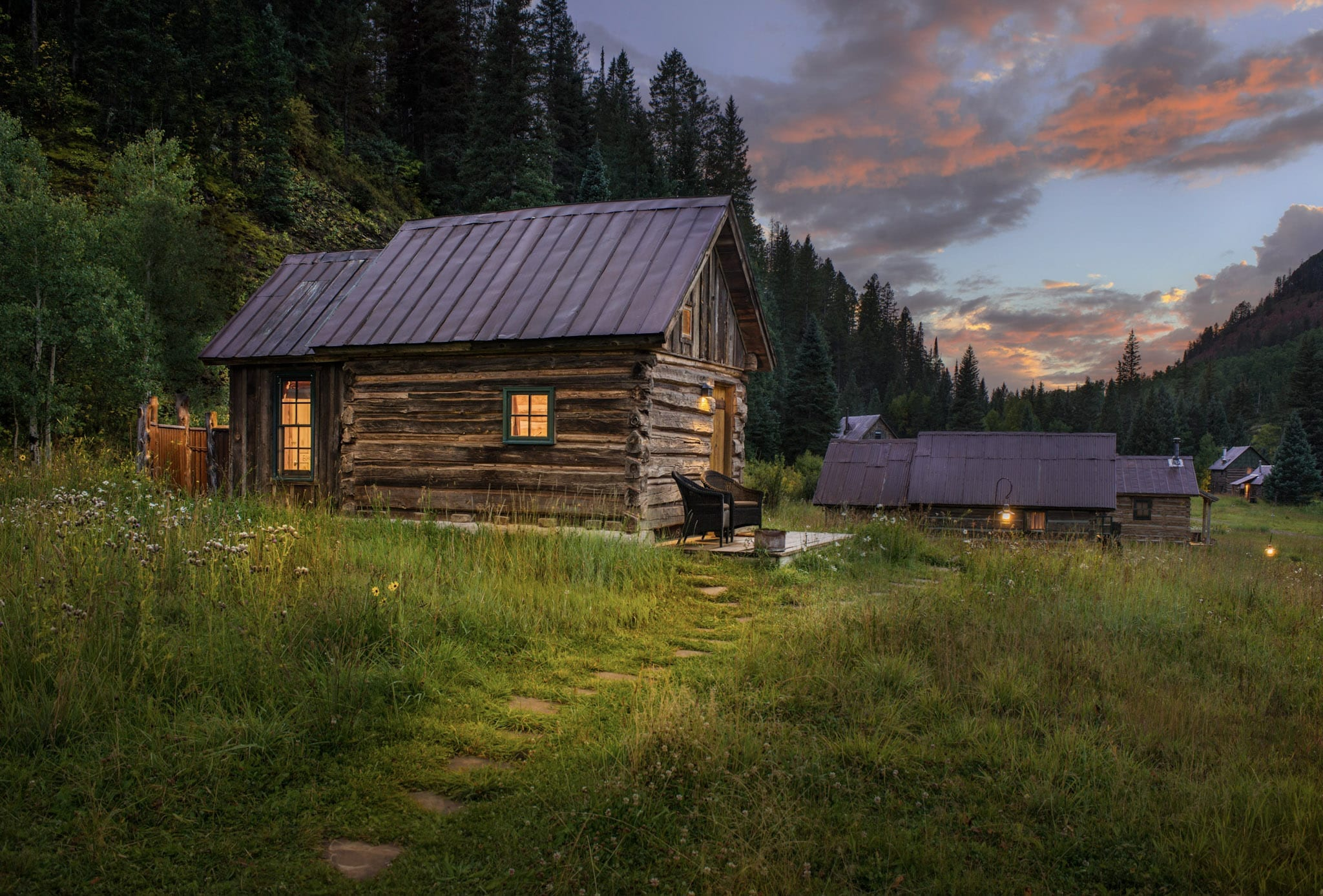 Exterior of Echo Cabin at Dusk Dunton Hot Springs Colorado USA
