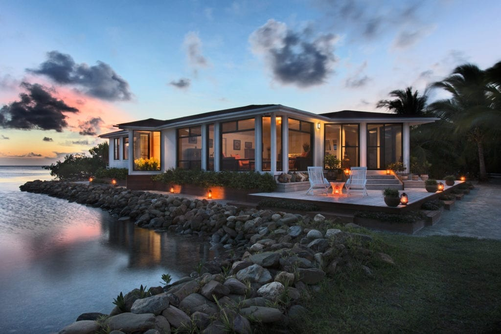 Exterior of Seafront Villa at Dusk at Royal Belize