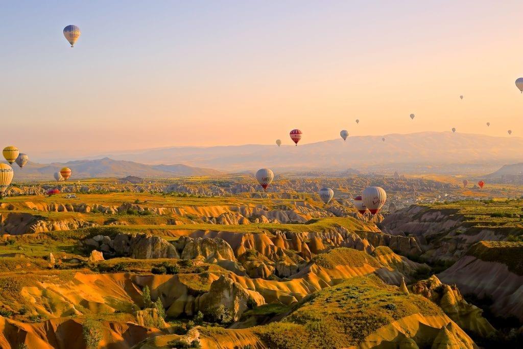 Hot Air Balloons Over Cappadocia at Sunrise Turkey