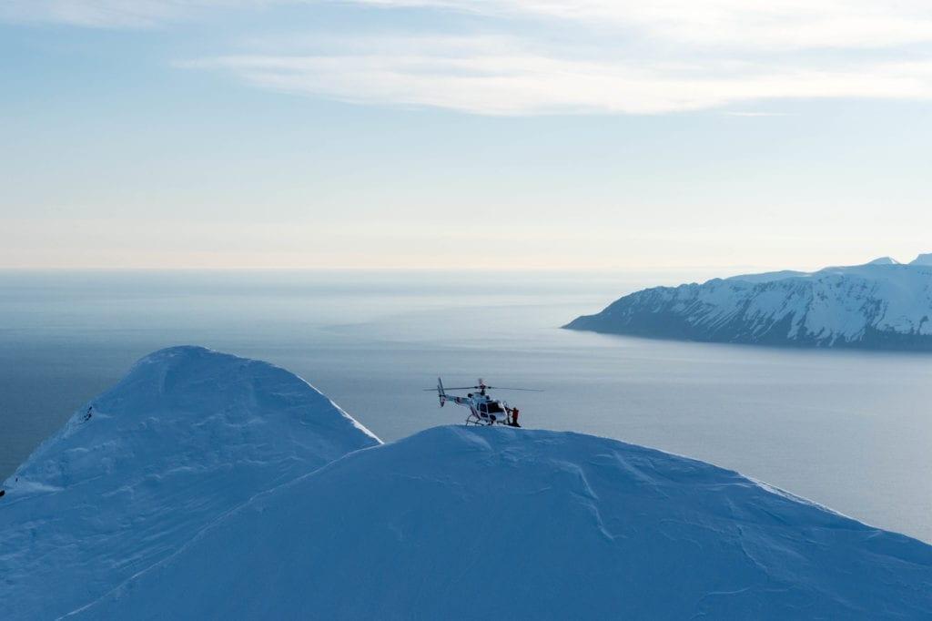 Heli-skiing on the coast of Iceland