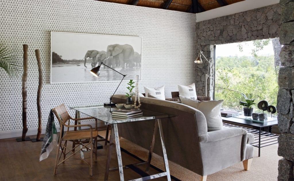 Interior Lounge Seating Area at Londolozi Granite Suites South Africa