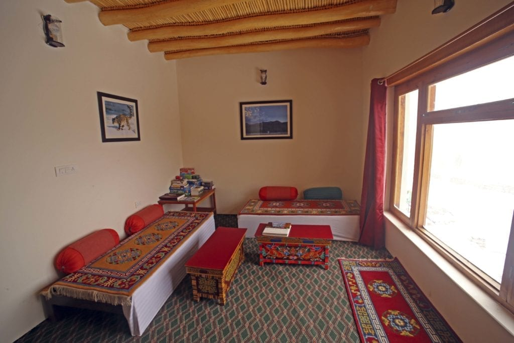 Interior of Snow Leopard Lodge Himalayas India