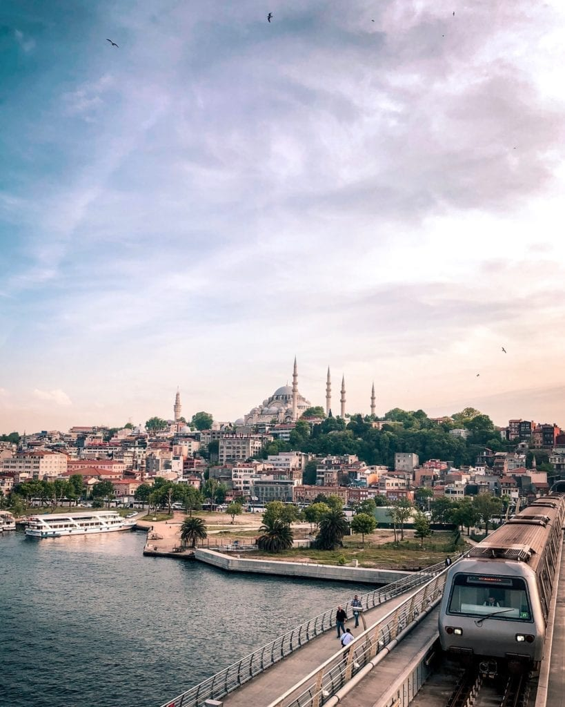 City View of Istanbul Skyline with Mosque Turkey