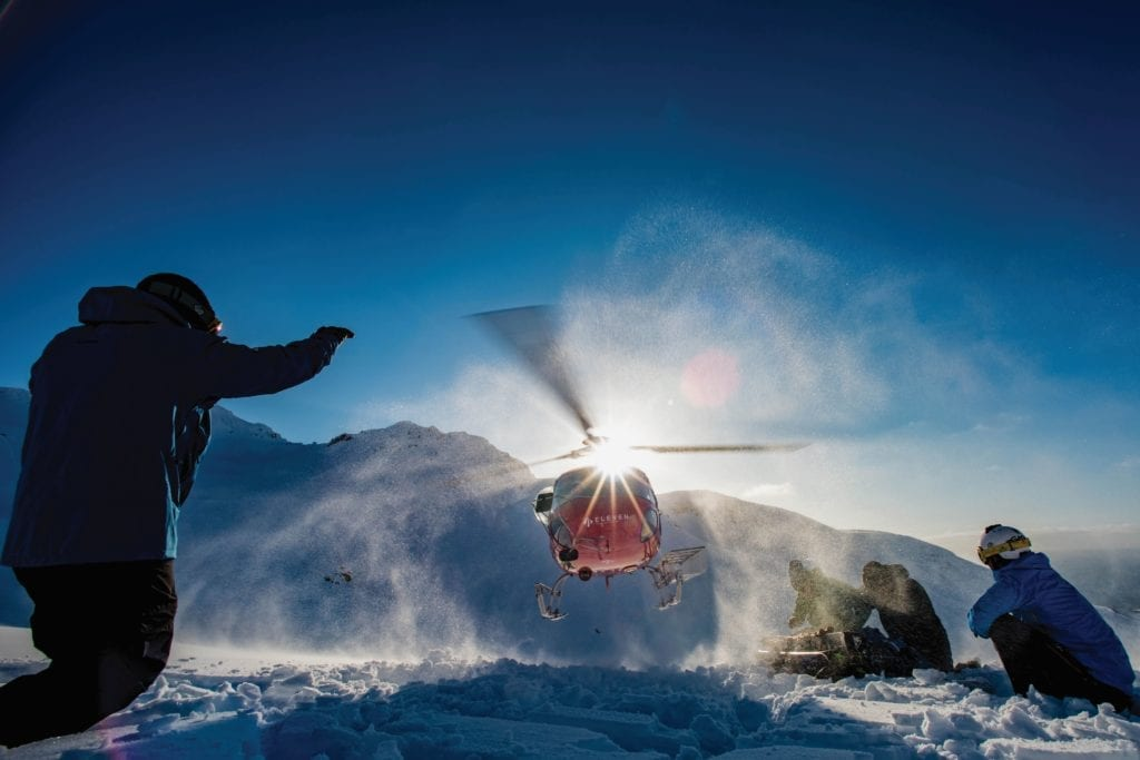 Landing Helicopter in the Snow - Skiing in Iceland