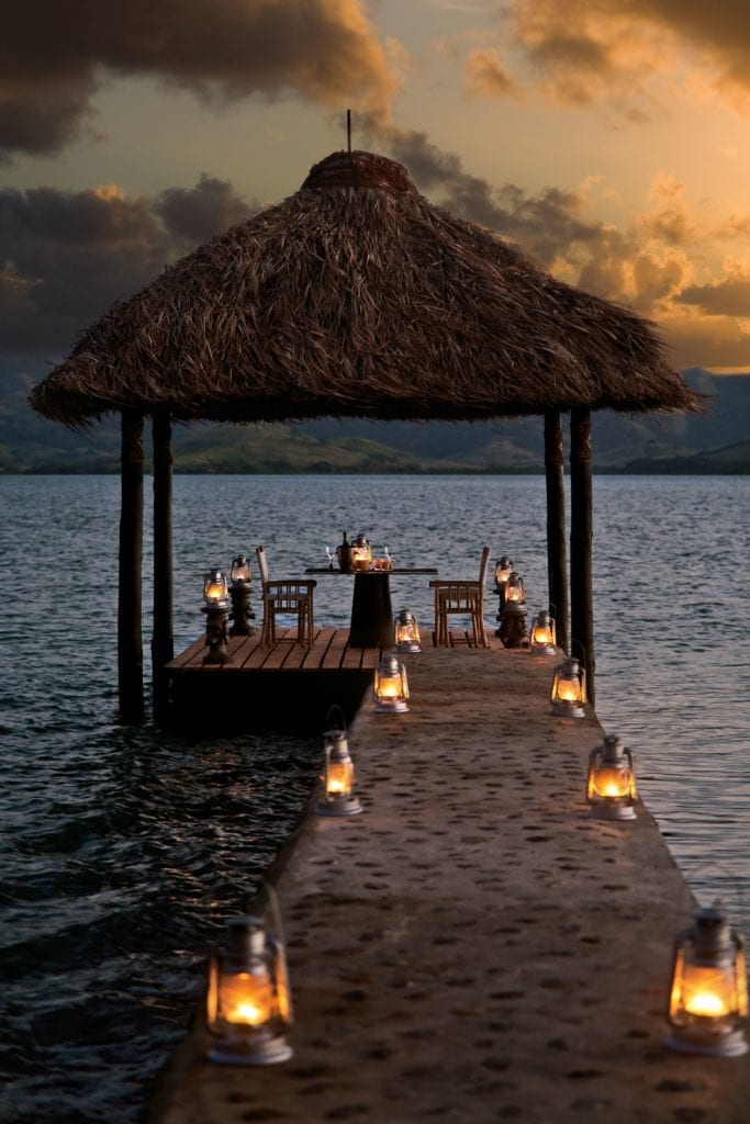 Lanterns Light the Way to the Floating Pontoon at Dolphin Island in Fiji