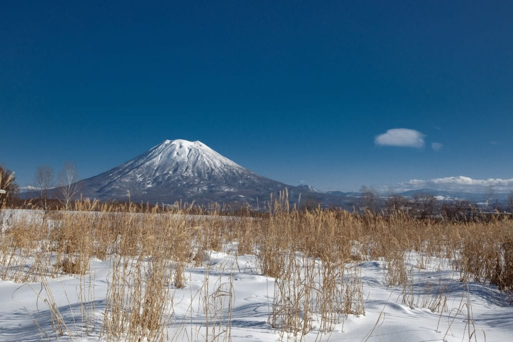Snowy Volcanic Mountain in Niseko Japan