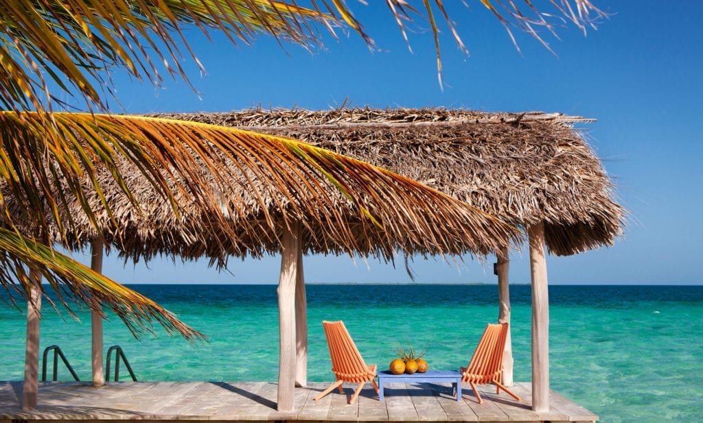 Ocean Front Thatched Outdoor Seating Area Royal Belize