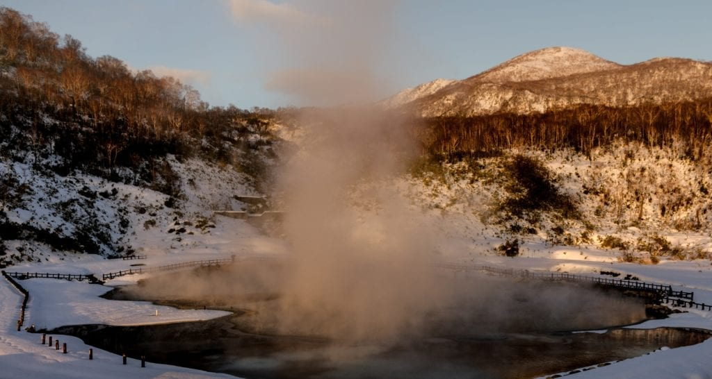Onsen Hot Volcanic Pools in the Mountain Sunshine Niseko Japan