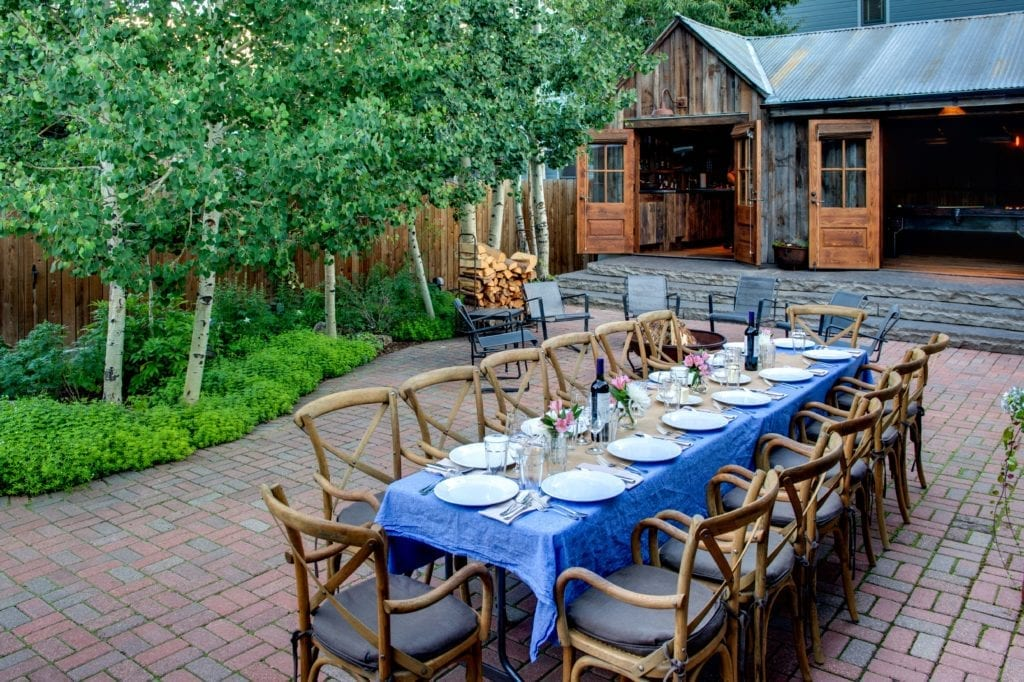 Outdoor Dining Area Courtyard Sopris House Colorado USA
