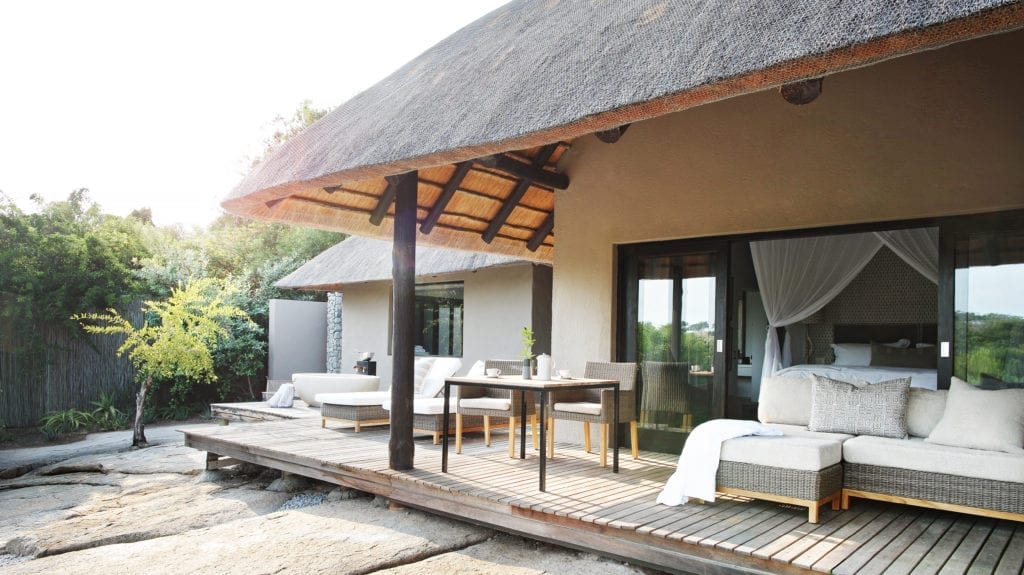 Outdoor Seating and Lounge Area on Terrace of Londolozi Granite Suites South Africa