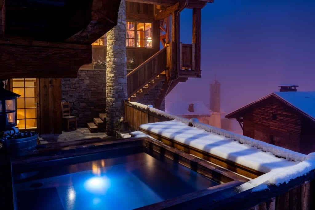 Outdoor Pool at Night Chalet Hibou The Alps France