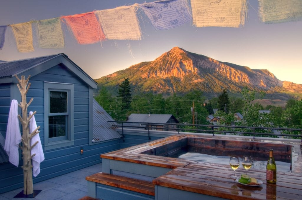 Rooftop Hot Tub at Sunset at Scarp Ridge Lodge Colorado USA
