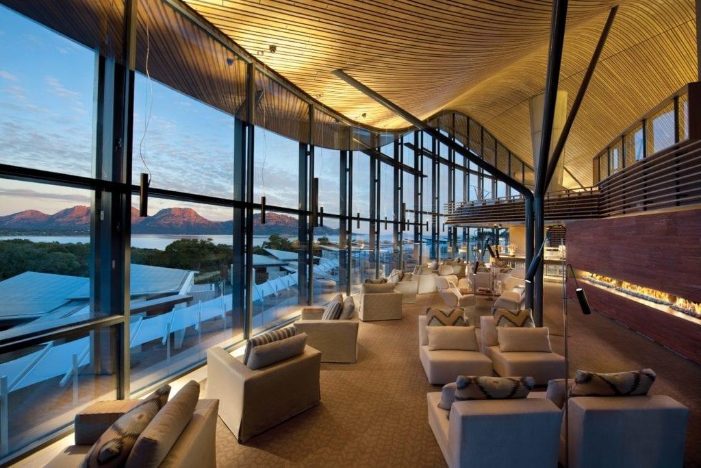Saffire Freycinet Lounge at Dusk Tasmania Australia