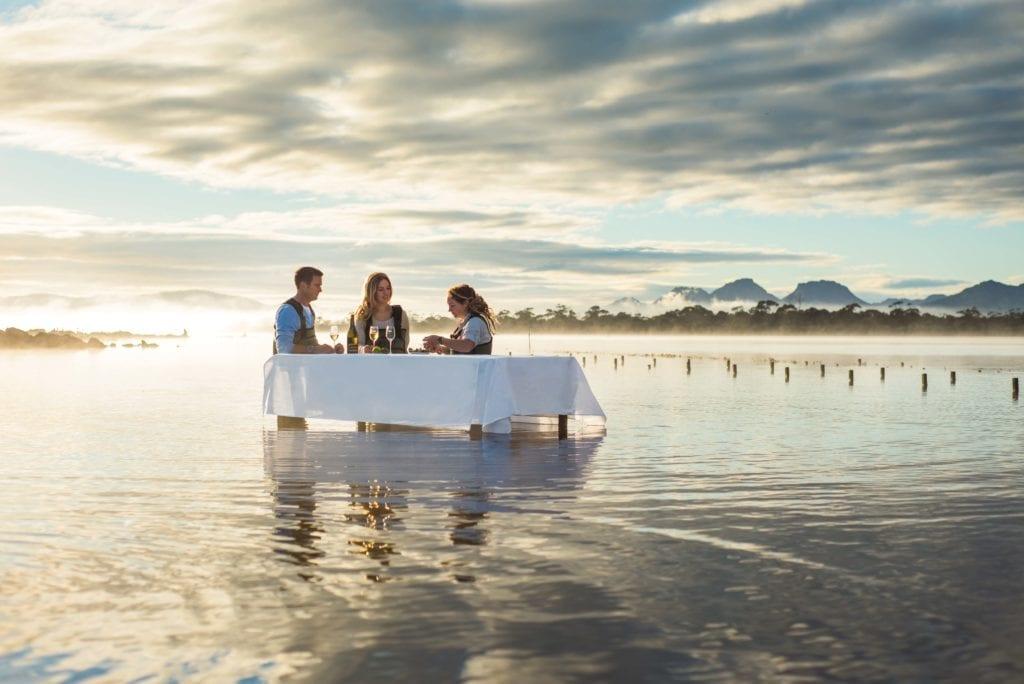 Saffire Freycinet Oyster Shucking on the Beach Sunset Tasmania Australia