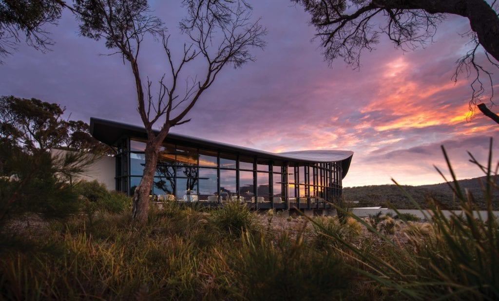 Saffire Freycinet Exterior at Sunrise Tasmania Australia