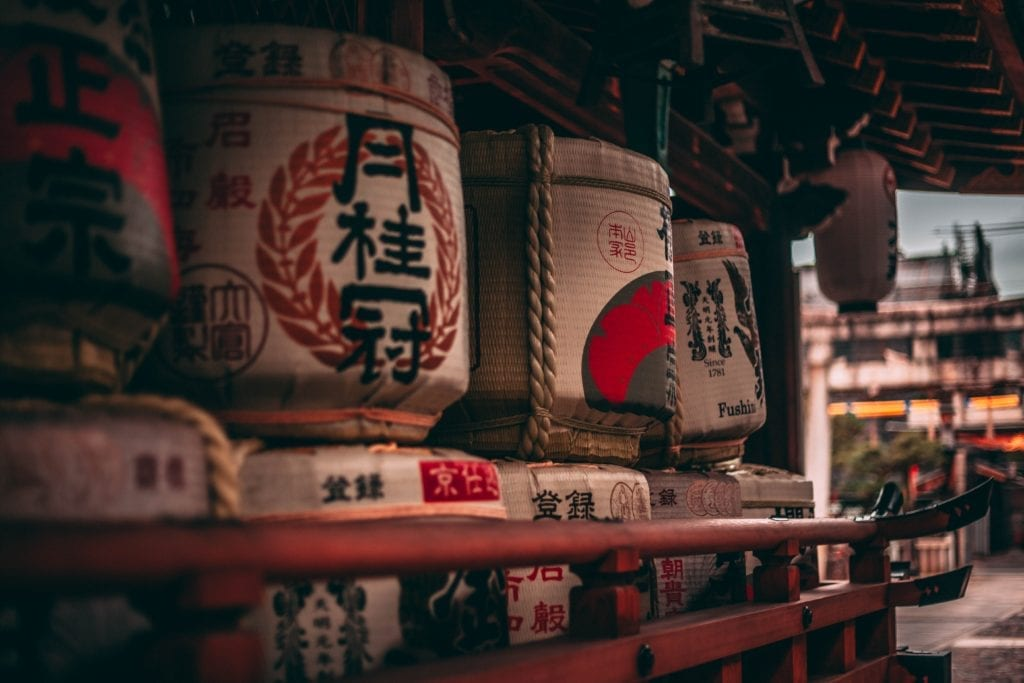 Barrels of Sake in Japan