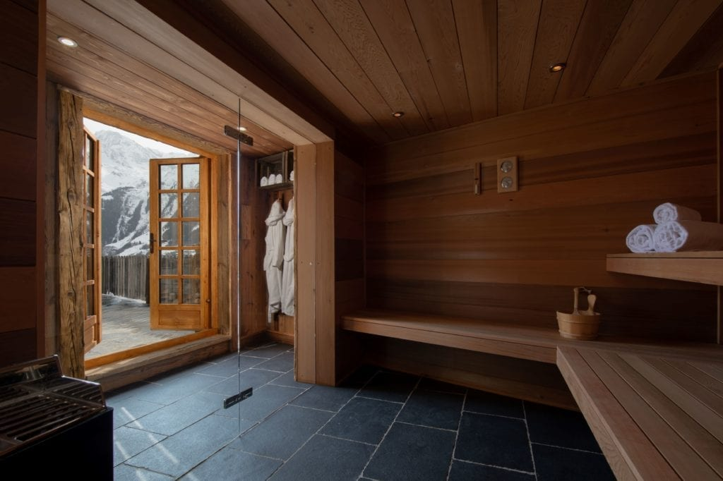Sauna and Steam Room Interior with Alpine Views in Chalet Pelerin France