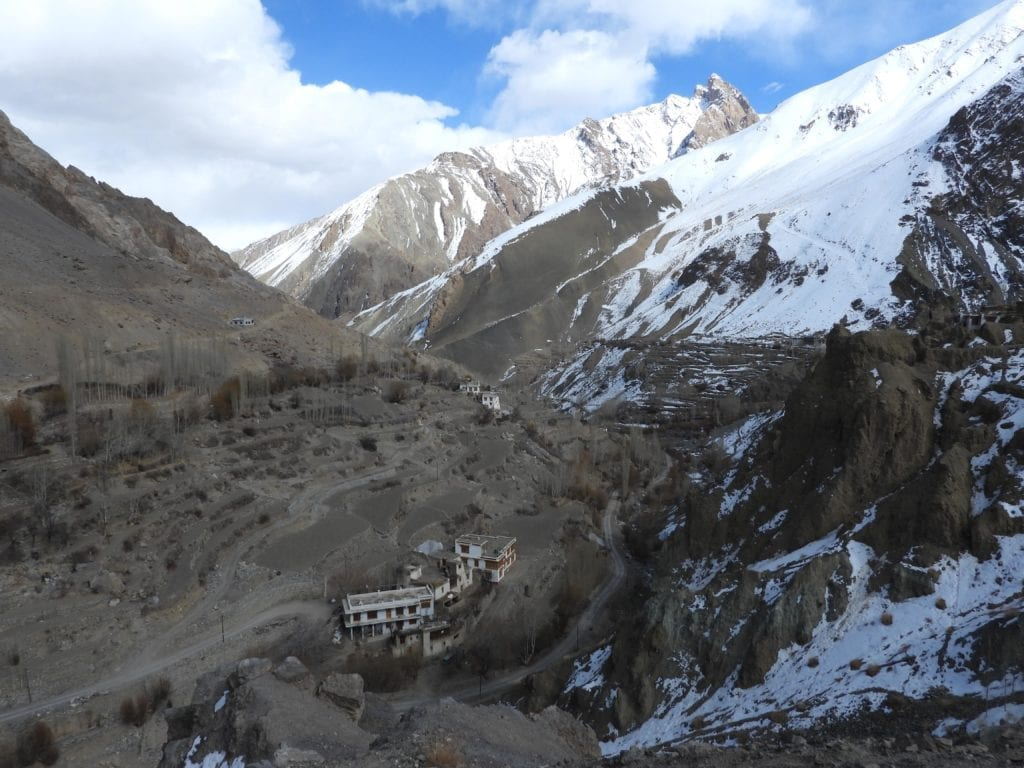 Setting Aerial View of Snow Leopard Lodge in Himalayas India