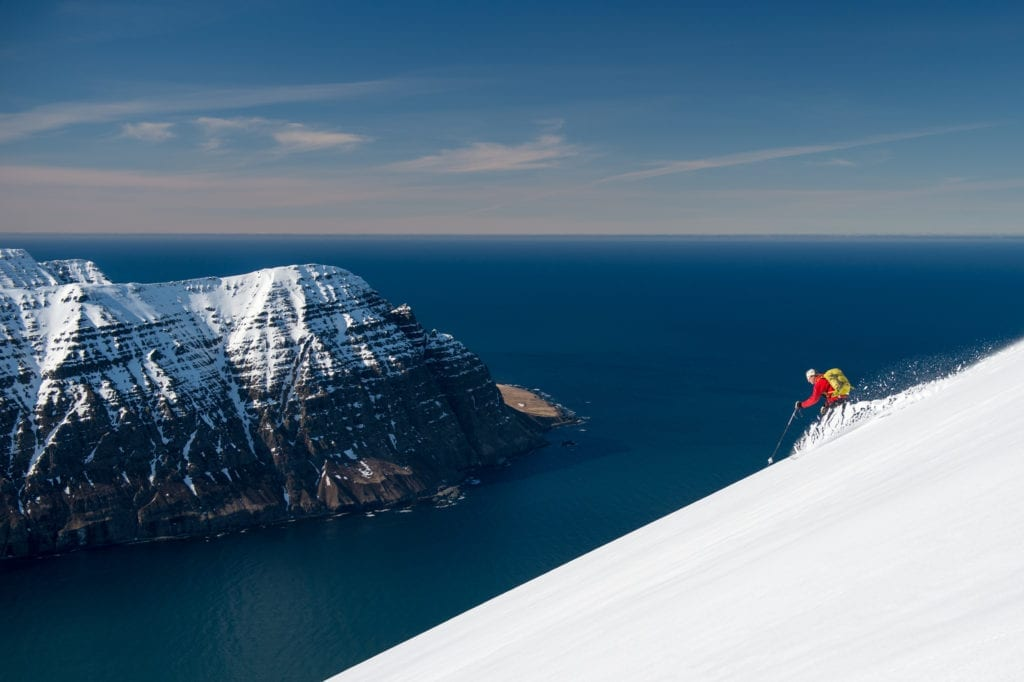 Skiing to the Sea in Iceland