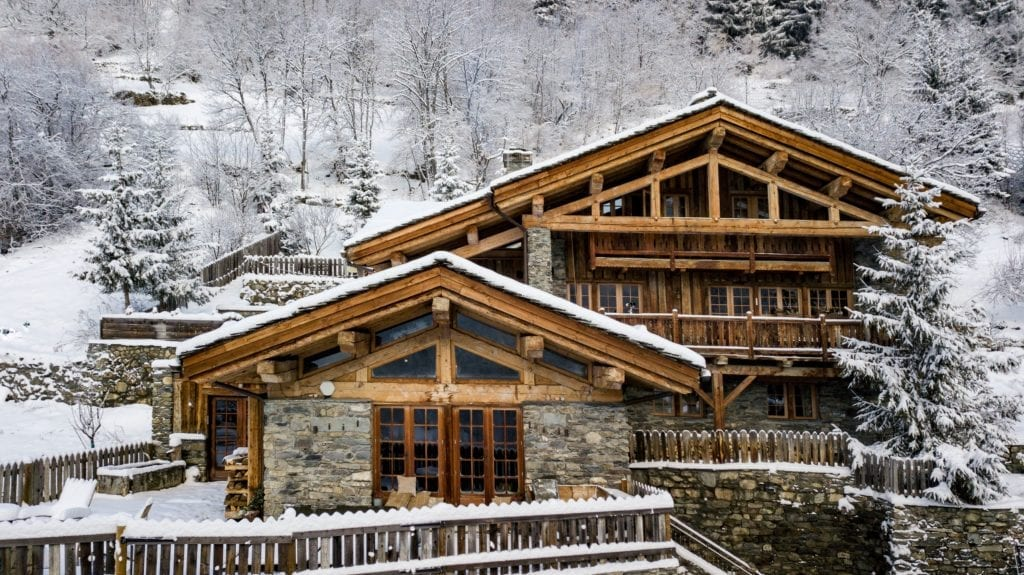 Snowy Chalet Pelerin Exterior in Winter The Alps France