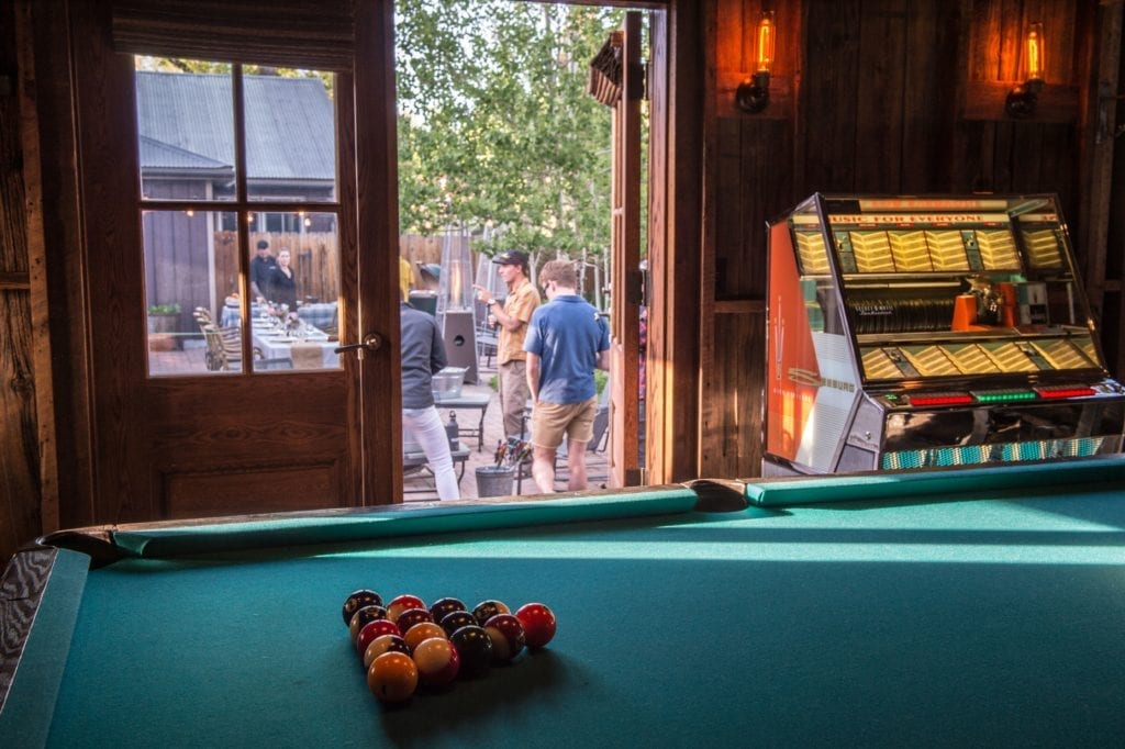 Sopris House Bar and Courtyard with Pool Table Interior Colorado USA