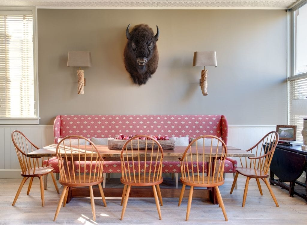 Sopris House Seating Dining Area with Buffalo Head Colorado USA