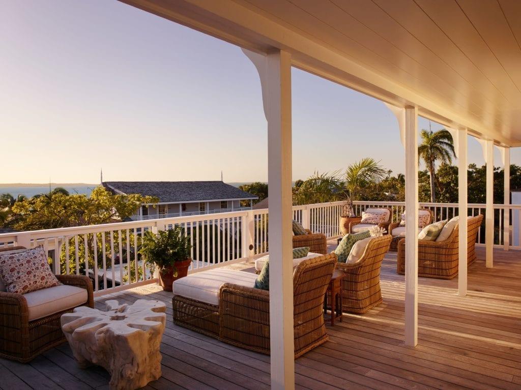 Terrace Outdoor Seating Area Bahama House at Sunset Bahamas Caribbean