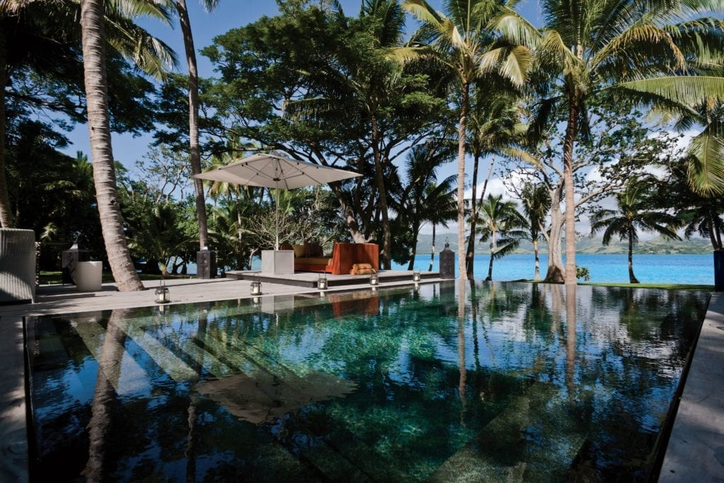 The Infinity Pool Boasts Day Beds at Dolphin Island Fiji