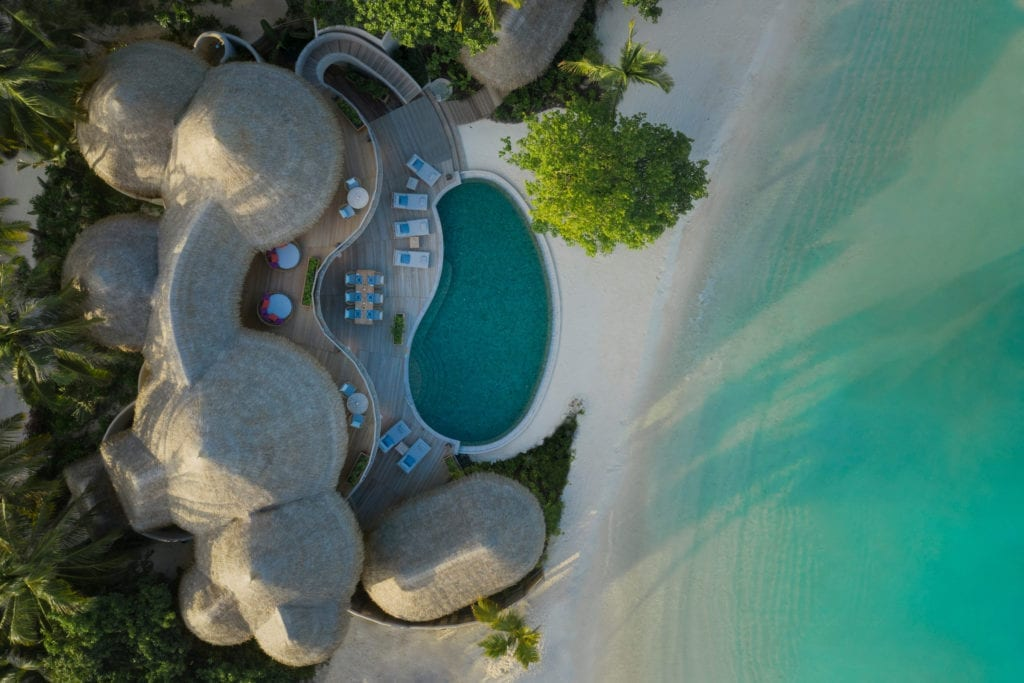The Nautilus Maldives Aerial View Villa with Pool on the Sea