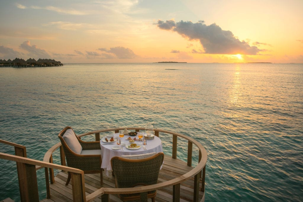 The Nautilus Maldives Sunset Dinner Over the Water