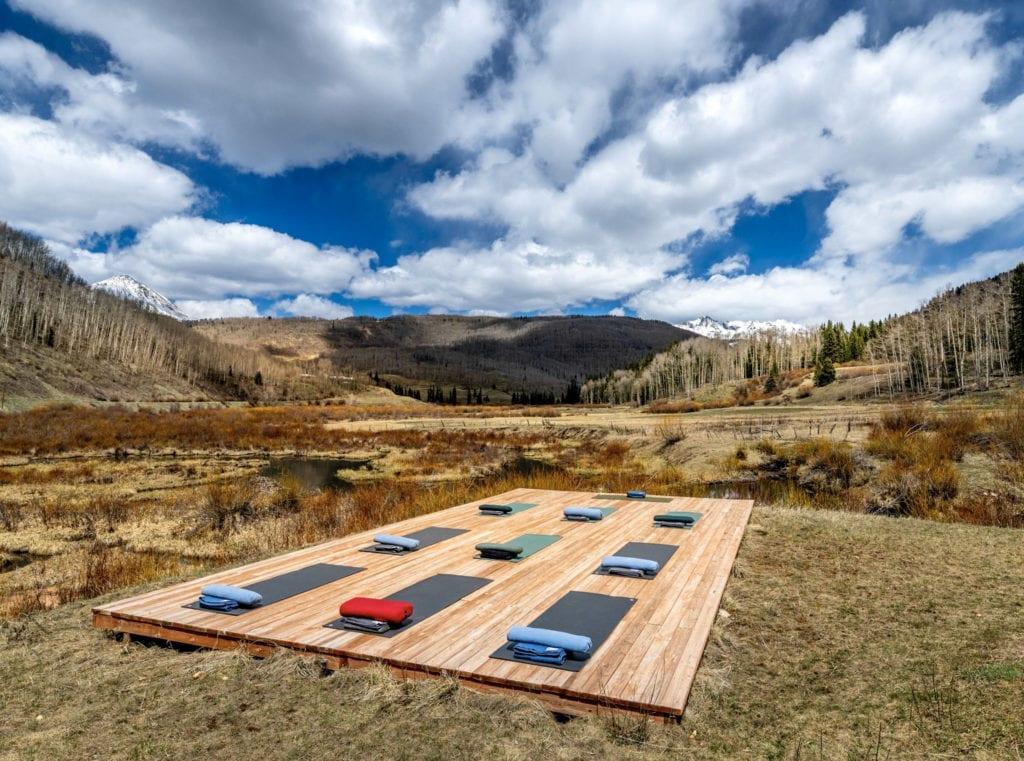 Outdoor Yoga Studio in the Mountains Dunton Hot Springs Colorado USA
