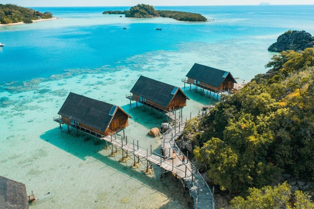 Floating Overwater Suites Aerial Image at Bawah Reserve Indonesia