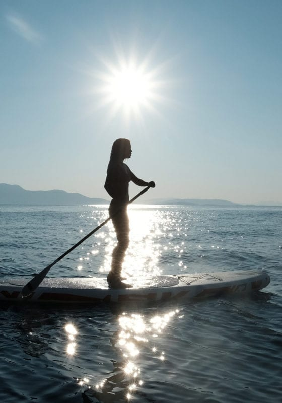 Paddle boarding off Alexa J