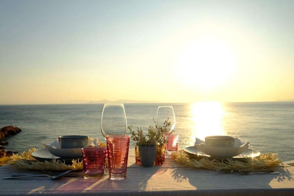 Coastal dinner setting in Greece
