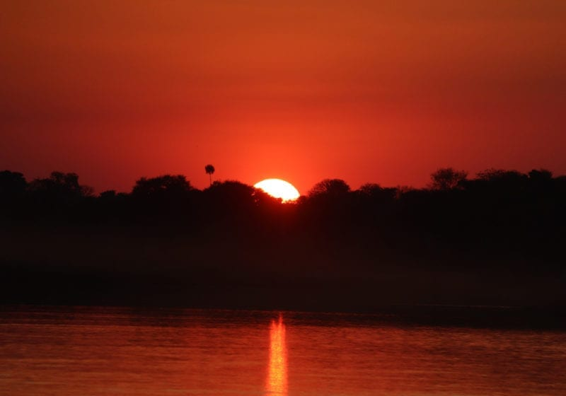 Angola Sun set over lake Landscape Africa